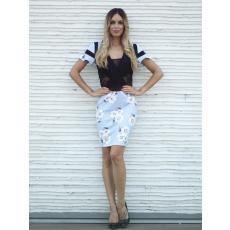 Meringue fashion AKCIÓ virágmintás, csipkebetétes nõi ruha