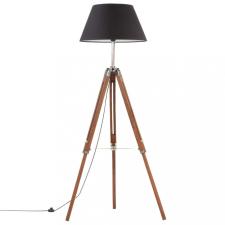 Mézbarna-fekete háromlábú tömör tíkfa állólámpa 141 cm világítás