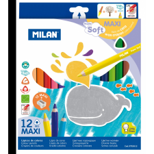 MILAN Színesceruza készlet MILAN 961, 12 különböző szín, háromszög test, extra puhaságú, vastag bél színes ceruza
