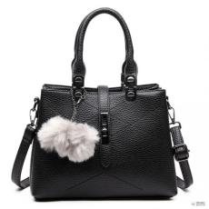 Miss Lulu London E1751 - Miss Lulu több rekesz Pom Pom válltáska táska fekete