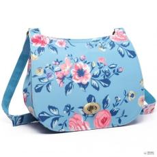 Miss Lulu London E6640-17F - Miss Lulumattte Oilcloth Flower Print Saddle táska kék