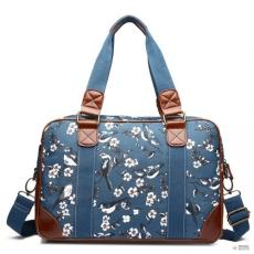 Miss Lulu London L1106-16J BE - Miss Lulu Oilcloth kabáted utazó táska Birds sötét kék
