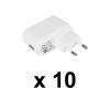 Mobiltelefon Töltő USB, Fehér 10 db-os csomag