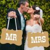 Mr & Mrs tábla, barna