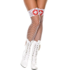 Music Legs White Fishnet Stockings With Red Cross