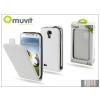 Muvit Samsung i9500 Galaxy S4 flipes tok képernyővédő fóliával - Muvit Slim - white