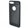 N/A iPhone 8 Plus 5.5 Telefonvédő gumi / szilikon (közepesen ütésálló, szálcsiszolt, karbonminta, logo kivágás) FEKETE