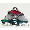 Nagy-Magyarországos nemzeti színű ezüst turulos bőrszíjas nyaklánc (39x24 mm)