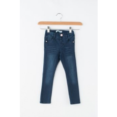 NAME IT , Polly farmernadrág mosott hatással, Sötétkék, 104 CM Standard (13147790-DARK-BLUE-DENIM-104)