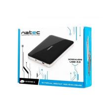 Natec OYSTER 2 2.5'' SATA HDD-hez/SSD,fekete slim alumínium külső USB 2.0 ház asztali számítógép kellék