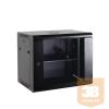 Netrack fali rack szekrény 19'',18U/450 mm, fekete, üveg ajtó, levehető old.