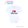 NEW BABY Body nyomott mintával New Baby I Love Mum and Dad | Piros | 68 (4-6 h)