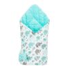 NEW BABY Kétoldalas pólya Velvet New Baby 75x75 cm elefántok menta