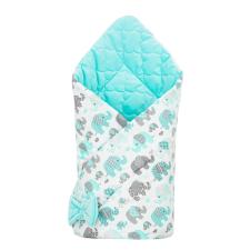 NEW BABY Kétoldalas pólya Velvet New Baby 75x75 cm elefántok menta pólya