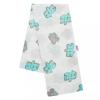 NEW BABY Pamut pelenka nyomtatott mintával New Baby fehér puzzle türkiz