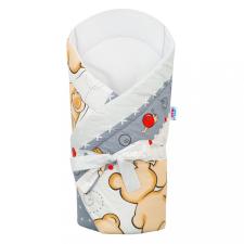 NEW BABY Pólya kókusz betéttel és masnival New Baby sötét szürke macival pólya