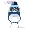 NEW BABY Zimní dětská čepička New Baby brýle světle modrá   Világos kék   104 (3-4 éves)
