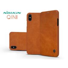 Nillkin Apple iPhone XS Max oldalra nyíló flipes tok - Nillkin Qin - barna tok és táska