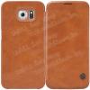 Nillkin Qin notesz / mappa tok - oldalra nyíló flip cover, bõr hátlap - BARNA - SAMSUNG SM-G920 Galaxy S6 - GYÁRI