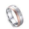 Női jegygyűrű, karikagyűrű, rozsdamentes acél, ezüst/rózsaszín, 9-es méret