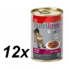 Nutrilove Cat chunks jelly BEEF Macskaeledel - 12 x 400g