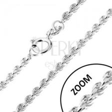 Nyaklánc 925 ezüstből, spirálosan összekapcsolt szemek, 1,4 mm nyaklánc