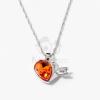 Nyíllal átlőtt szív medálos nyaklánc narancssárga kővel jwr-1313