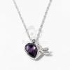Nyíllal átlőtt szív medálos nyaklánc sötétlila kővel jwr-1314