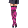 Nylon Stocking With Stripe - BLACK/FUSCHIA - O/S - HOSIERY