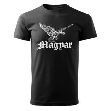 O&T rövid póló magyar turul, fekete 160g/m2