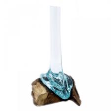 Olvasztott Üveg Fa Alátéten - Magas Váza dekoráció