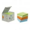 Öntapadó jegyzettömb, 76x76 mm, 6X 100 lap, környezetbarát, 3M POSTIT, pasztell szivárvány színek