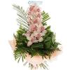 Orchidea fürt zöldekkel díszítve (rózsaszín)