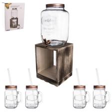 Orion készlet: 8,8 l palack csappal, állvánnyal és 4 Straw üvegpohárral üdítős pohár