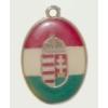 Ovális címeres (piros-fehér-zöld) nyaklánc bőrszíjjal