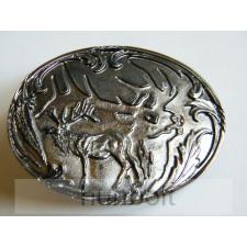 Ovális ezüst szarvas, ezüst háttérrel övcsat férfi ruházati kiegészítő
