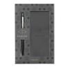 """Parker Golyóstoll, 0,7 mm, ezüst színű klip, fekete tolltest, díszdoboz,  """"Royal Jotter"""", kék, ajándék notesz"""