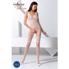 Passion BS069 - exkluzív, mintás, nyitott necc overall (fehér) - S-L body