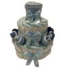 Pelenkatorta Webshop Babaváró ajándék ötlet: Pelenkatorta kék zoknikkal, pléddel a tetején