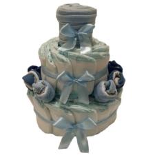 Pelenkatorta Webshop Babaváró ajándék ötlet: Pelenkatorta kék zoknikkal, pléddel a tetején pelenka