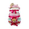 Pelenkatorta Webshop Babaváró ajándék ötlet: Rózsaszín három emeletes pelenkatorta macikkal