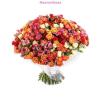 Pici fürtös rózsák vegyes színben, szorosan kötve