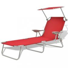 Piros acél napozóágy napellenzővel kerti bútor