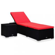 Piros polyrattan napozóágy párnával és teázóasztallal kerti bútor
