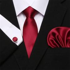 Pirosas bordó selyem nyakkendő mandzsettagombbal és díszzsebkendővel nyakkendő