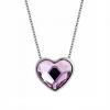 Platinával bevont dupla oldalú szív nyaklánc halványrózsaszín Swarovski kristályokkal + AJÁNDÉK DÍSZDOBOZ (0597.)