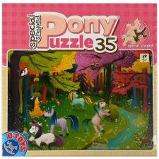 Póni mintás 35 darabos póni formájú puzzle darabokkal - kétféle puzzle, kirakós