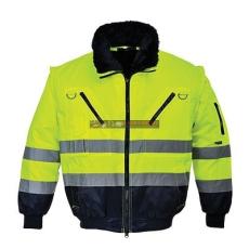 Portwest PJ50 Hi-Vis 3 az 1-ben Pilóta kabát (Sárga/Navy - S)