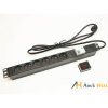 PRC APower 1U 19 fekete/alu 6-os FI relés elektromos elosztó