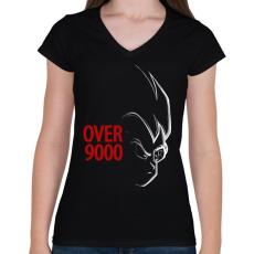 PRINTFASHION 9000 szint felett - Női V-nyakú póló - Fekete